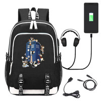New TV Doctor Who USB Backpack School Bookbag Knapsack Cosplay Black Unisex Laptop Travel Shoulder Bag Cartoon Boys Girls Bags