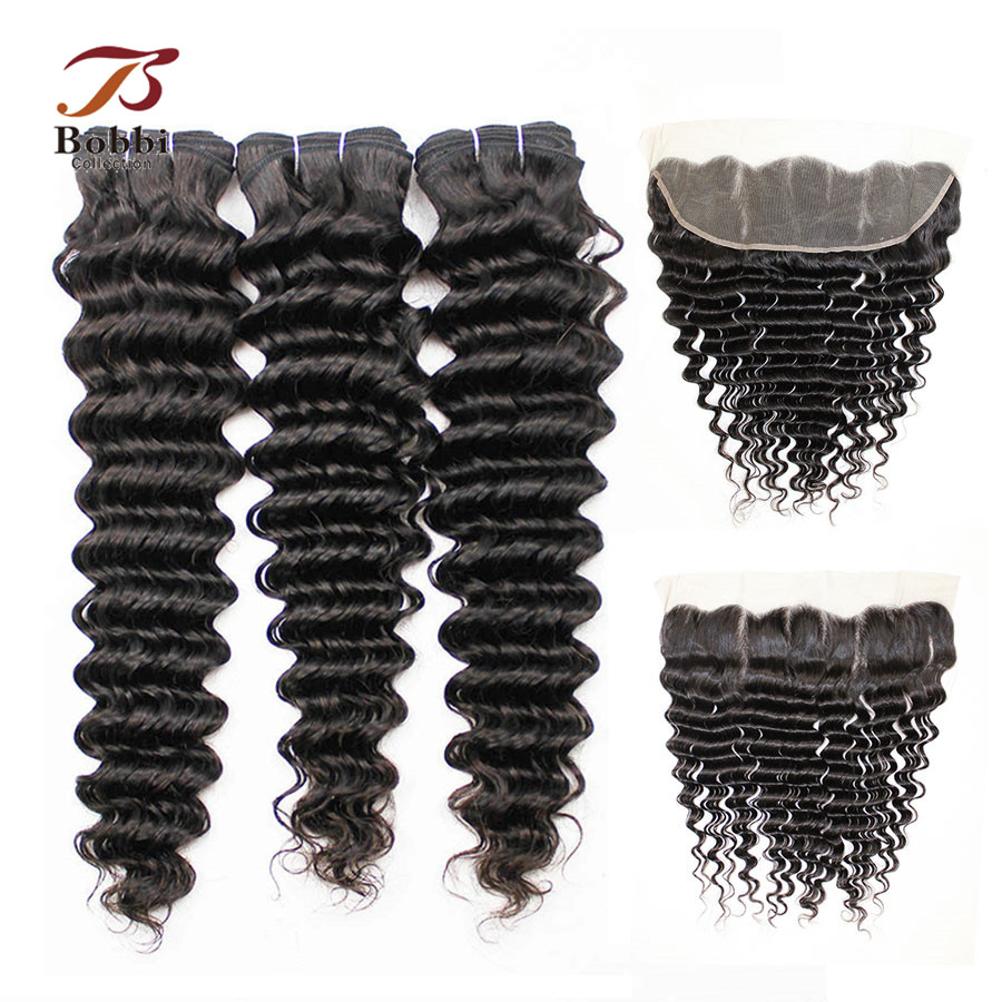 BOBBI COLLECTION Peruvian Deep Wave Bundles With Frontal Human Hair Weave Ear To Ear Lace Frontal Non Remy Hair Extension