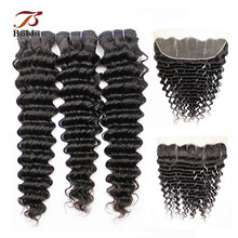 Deep-Wave-Bundles Frontal Hair-Extension Weave Human-Hair Peruvian with Ear-To-Ear Pre-Pluckedremy