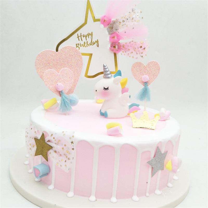 Tremendous 1Pcs Pink Blue Unicorn Cake Topper Kids Birthday Wedding Party Birthday Cards Printable Giouspongecafe Filternl
