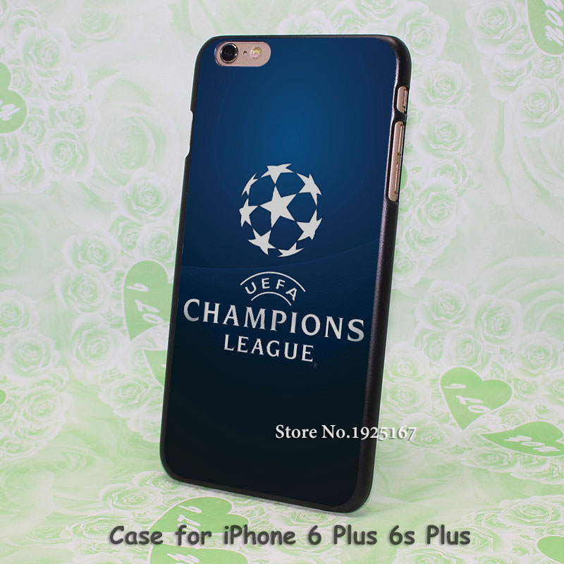 champions league blue logo Pattern hard black Case Cover for iPhone 4 4s 5 5s 5c 6 6s 6 Plus 6s Plus