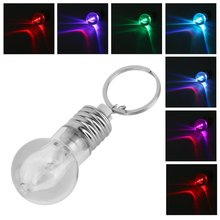 1pcs Unique Design Colorful Changing LED Flashlight Light Mini Bulb Lamp Key Chain Ring Keychain Clear Lamp Torch Keyring
