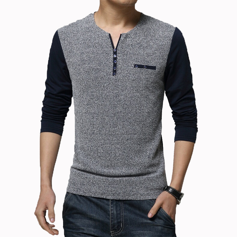 2017 new spring men shirt v neck slim fit long sleeve for High quality mens shirts