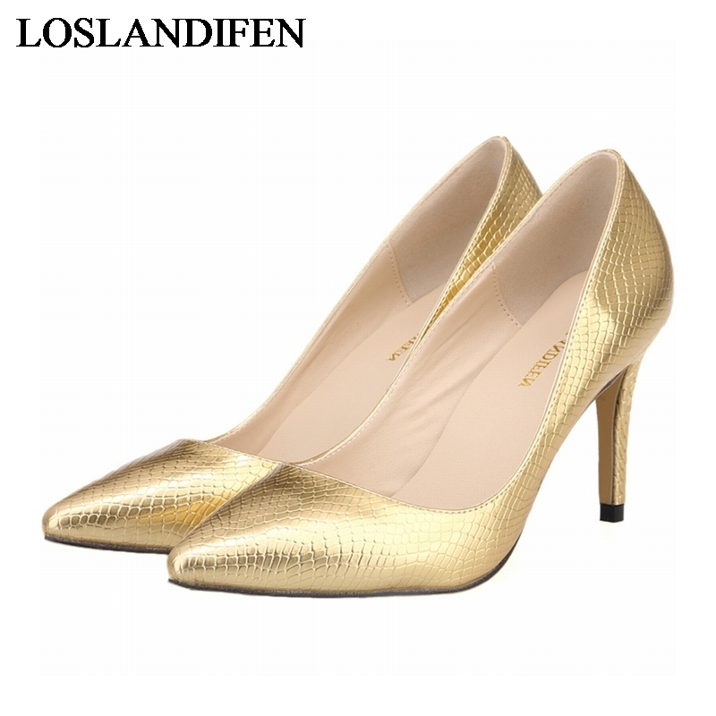 2018 New Pointed Toe Pumps Maturn Elegant 8CM High Heel Shoes Woman Sexy Thin Important Party Shoes Gold Sliver NLK-C0063 creativesugar elegant pointed toe woman