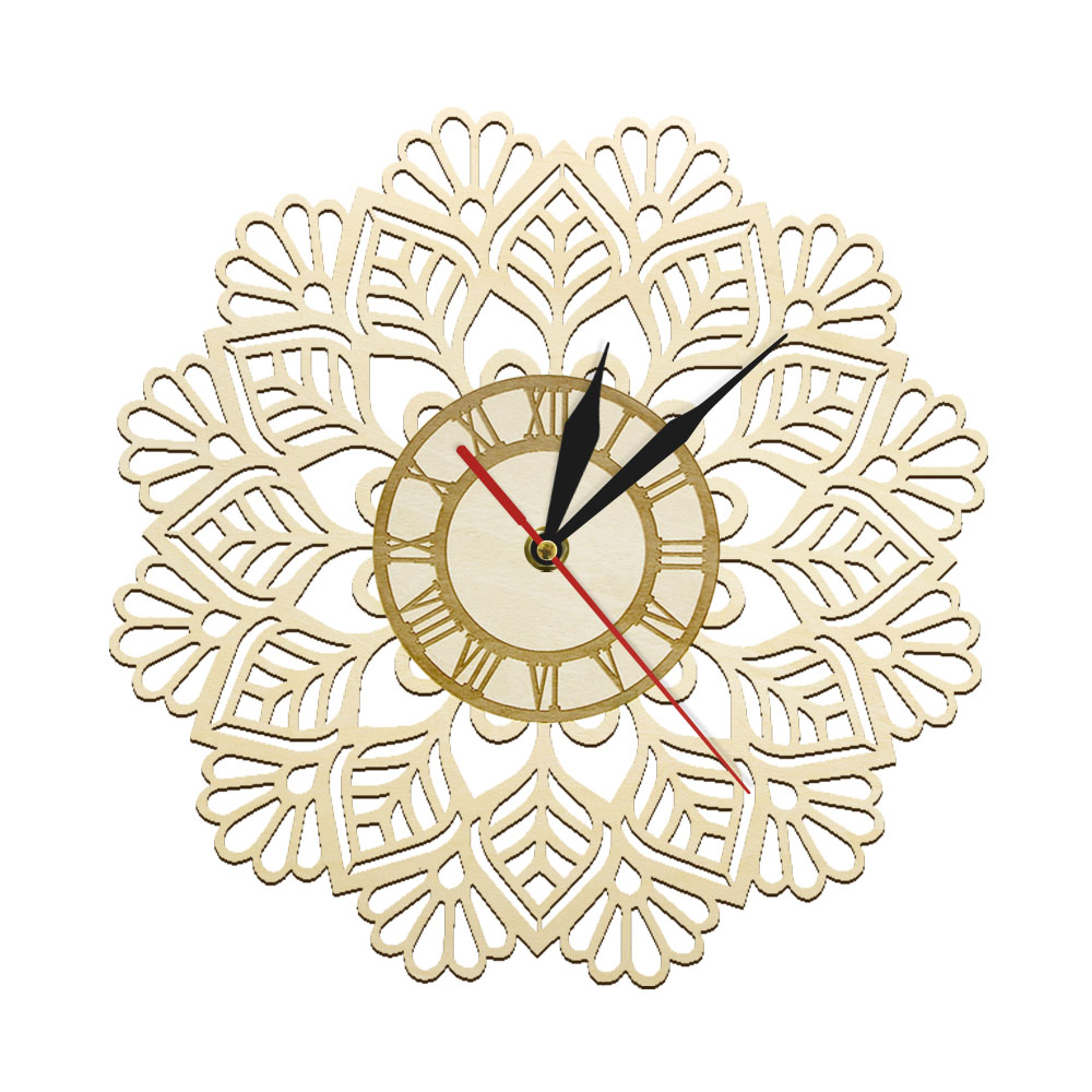 Snowflake Wooden Wall Clock Winter Christmas Snow Wall Art Holiday Home Decor Laser Cut Geometric Silent Sweep Modern Wall Watch