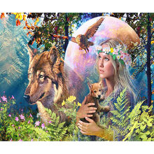 5D DIY Diamond Painting girl 3D Diamond Embroidery Wolf Cross Stitch Mosaic Needlework Home Decor Round drill love gift(China)