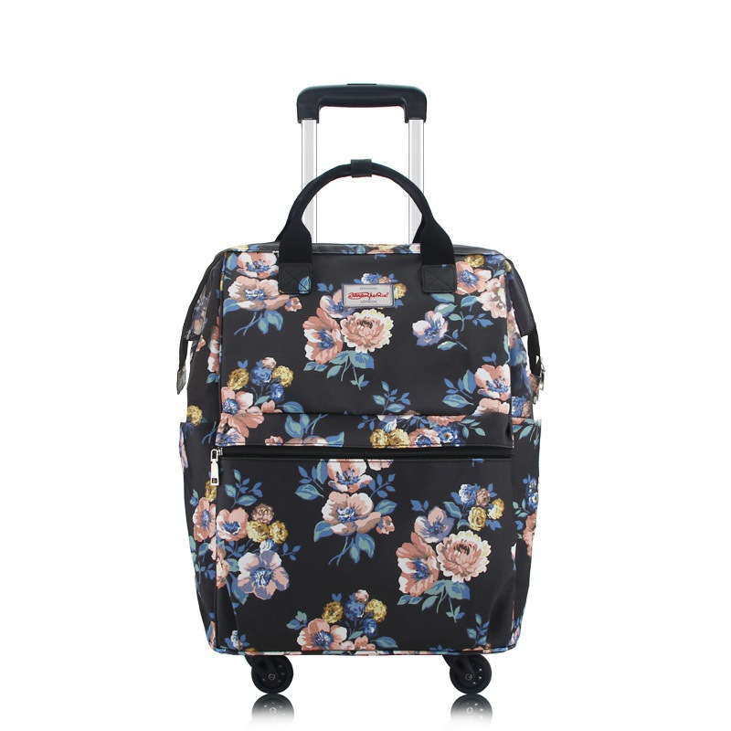 Inch Mode Floral Chariot 2017 Sac Femmes Voyage Roues Inch 18 Valise Toile Bagages Main Vintage Imprimé 18 fRnawqS