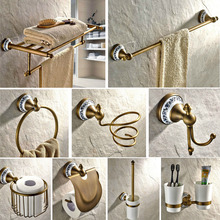Antique Brass Ceramic Base Wall Mount Bathroom Hardware Sets Towel Bar Robe hook Soap Dish Paper Holder Bathroom Accessories free shipping solid brass bathroom accessories set robe hook paper holder towel bar soap basket bathroom sets yt 12200 a