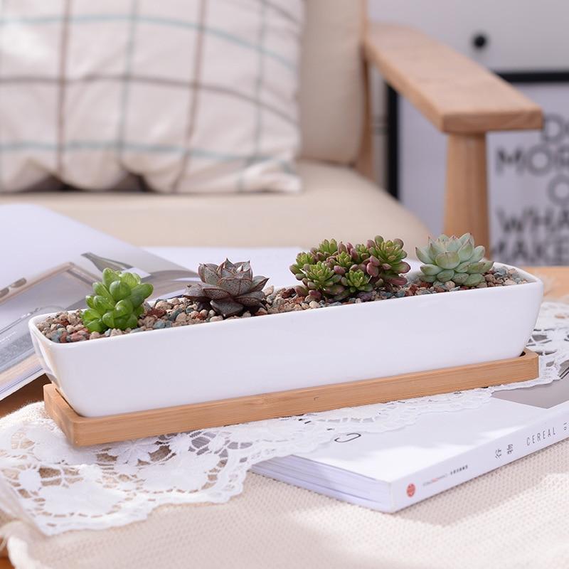 1 Set Minimalist Geometry White Ceramic Succulent Plant Pot Bonsai Planter Porcelain Flower Pot Home Decor (1 Pot + 1 Stand)