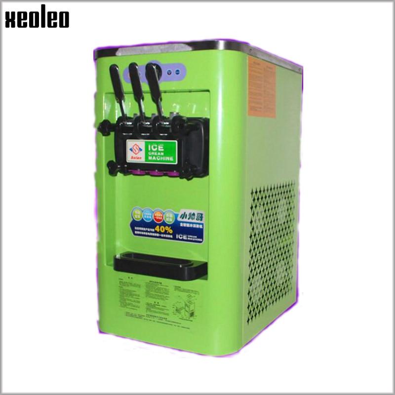 Xeoleo Mini 3 flavors Ice cream maker Commercial Soft Ice cream machine 12L/H 800W 220V/50HZ Yogurt Ice cream Green R22