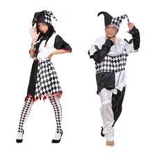 1130c44a5 Traje Do Palhaço engraçado Preto Grade Branca Mulheres Homens Adultos  Fantasias de Palhaço de Circo Festa Halloween Fancy Dress .