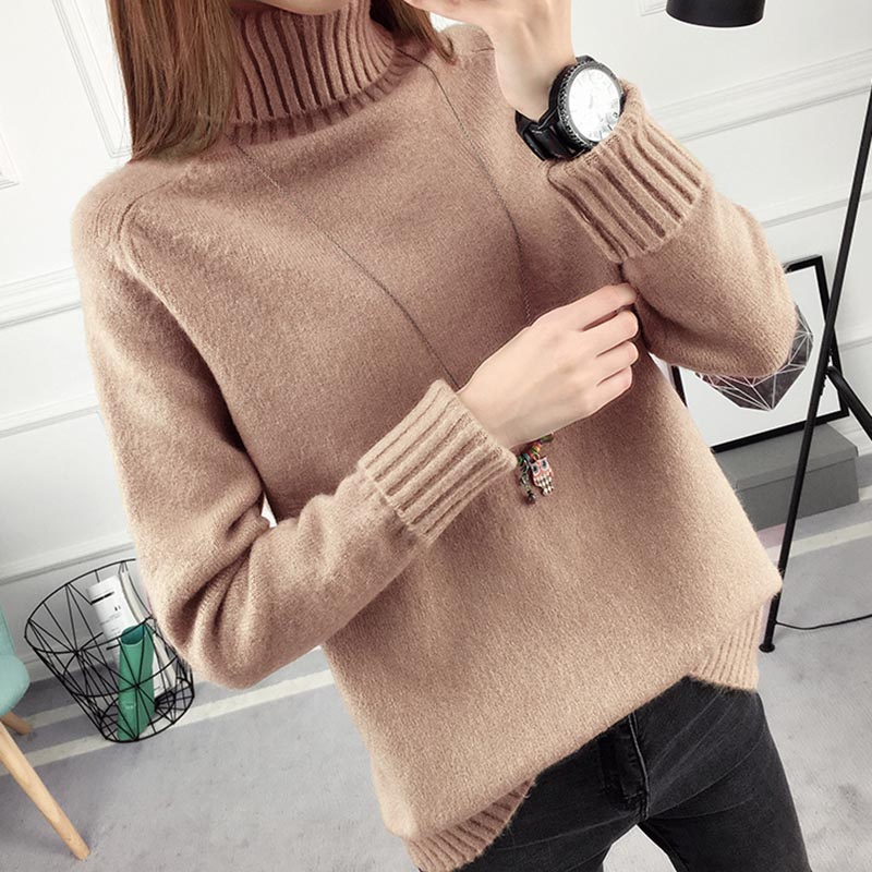 2017 Women Autumn Sweater Long Sleeve Turtleneck Winter Knitted Pullovers Casual Elegant Women Tops Multipul Colors