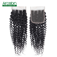 4x4 Peruvian Kinky Curly Closure Human Hair Lace Free/Middle/Three Part 130% Density Natural Color Remy