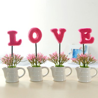 LOVE Three Colors Plant Artificial Grass Fake Flower Pot Ornament Home Wedding Decor Romantic