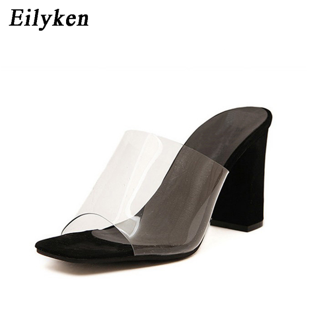 Eilyken Summer Fashion Woman Sandals Shallow Rome Mouth Female Casual  Square heel Ladies thick Sandals Shoes White BLACK SIZE 40 6fe642556a6c