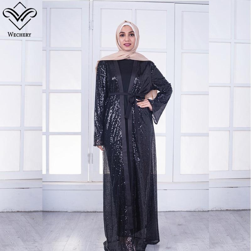 Wechery Sequins Abaya Women Black Shine Dress for Party Daily Wear Fashion Maxi Muslim Islamic Clothing