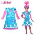Venta caliente de La Historieta Troll Trajes Disfraces Infantiles Para Niñas Fiesta de Carnaval de Disfraces Para Niños Ropa de Verano Vestido de Niña de Trolls de Amapola