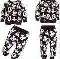 Del muchacho del bebé que arropan otoño ropa de los niños Mickey bebé muchachos chándales establece 100% algodón con capucha + pantalones