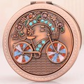 free shipping mini portable collapsible rounded double-faced red bicycle cosmetics/makeup mirror