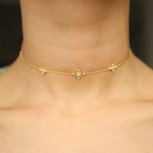 gold color snowflake cz charm hot fashion jewelry minimal thin chain dainty choker necklace for women girl delicate chic jewelry(China)