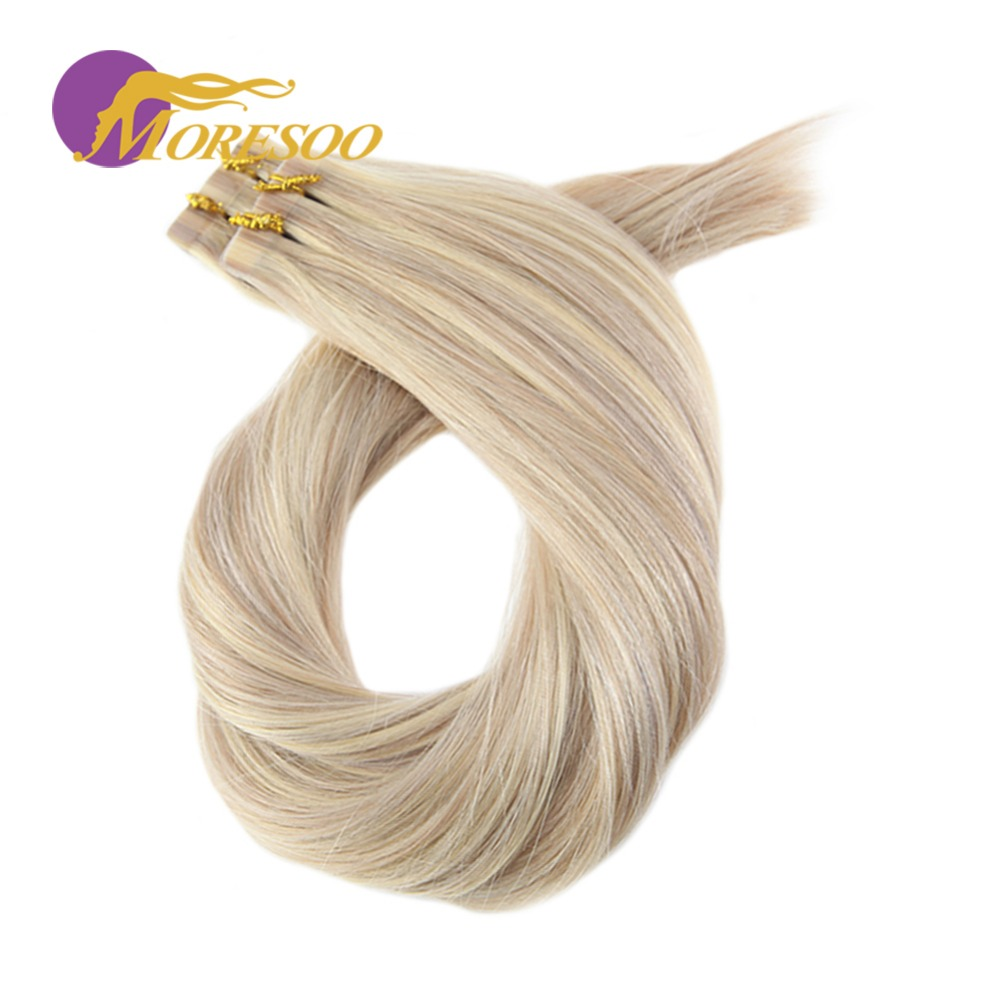 Moresoo Tape in Hair Extensions Human Hair Remy Brazilian Real Human Hair Ash Blonde Highlight with Bleach Blonde Skin Weft 20PC ...