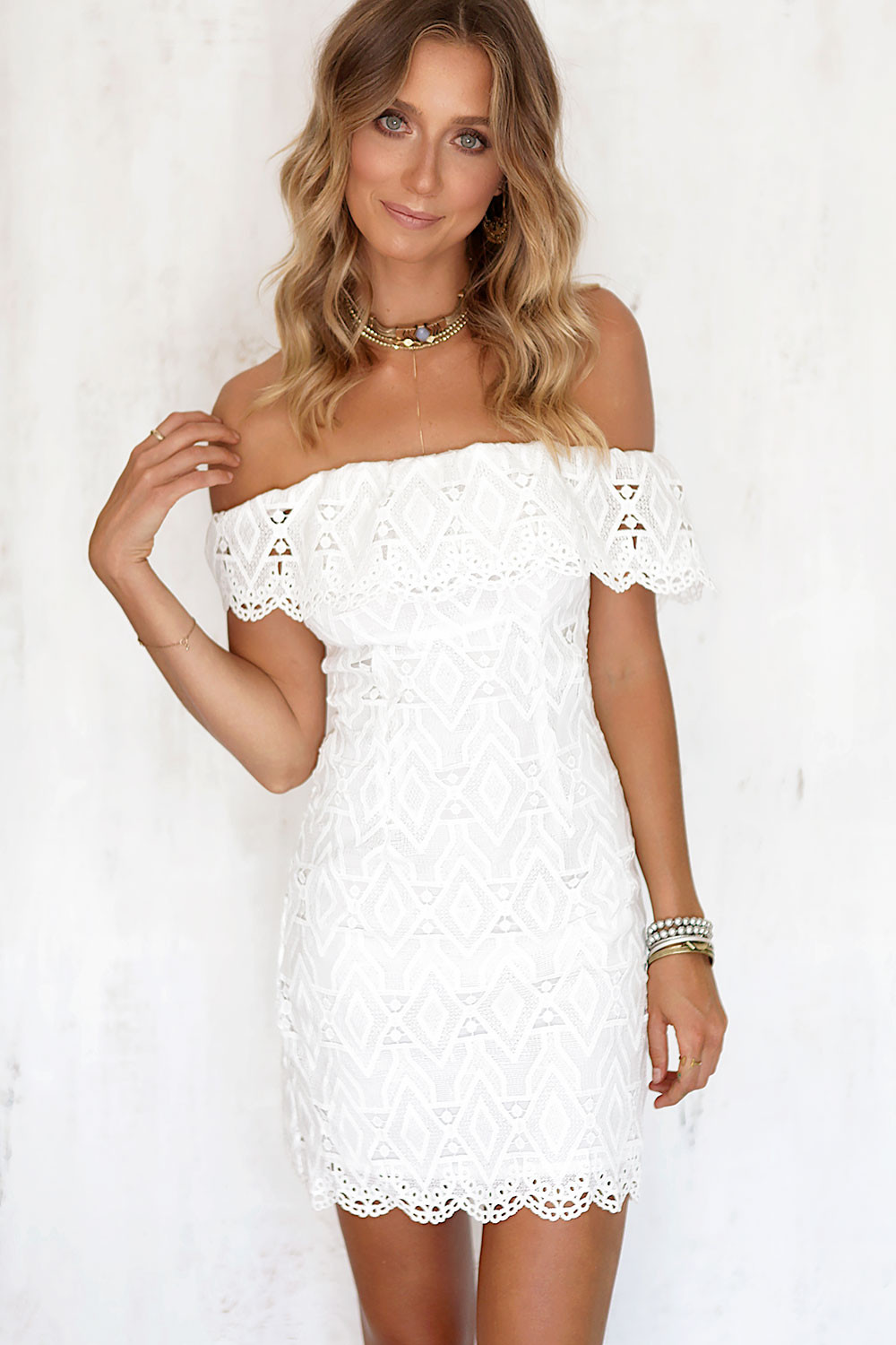Sexy off the Shoulder White Lace Dress Women Casual vestido de festa feminino Monos Summer Style High Slit Party Boho Dresses 5