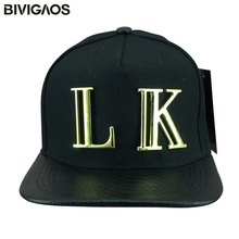 cedcf76abb1 New Fashion Snapback Last Kings Hats LK Metal Letter Snakeskin Leather Brim Hip  Hop Baseball Caps