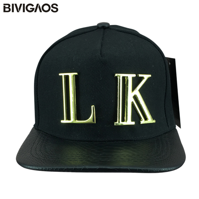 New Fashion Snapback Last Kings Hats LK Metal Letter Snakeskin Leather Brim  Hip Hop Baseball Caps Swag Bone Gorras For Men Women 978b27e344e