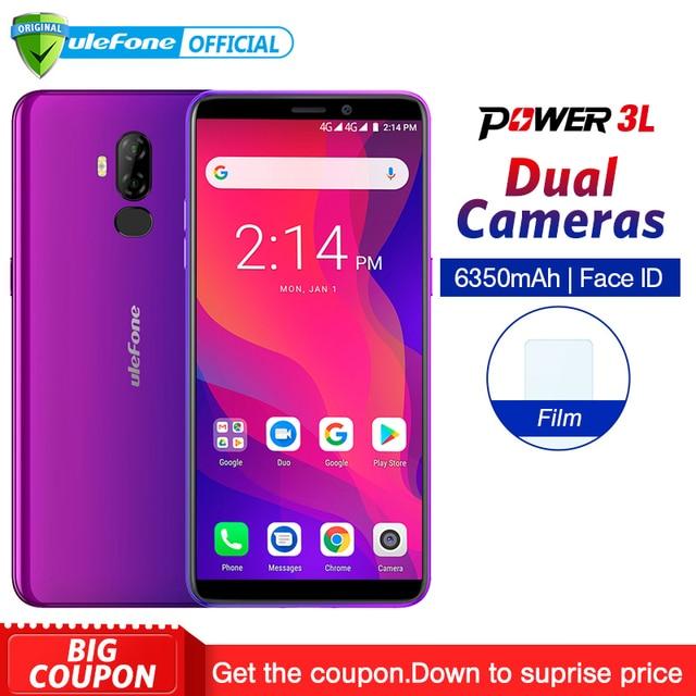 "Ulefone Power 3L 6.0"" HD+ Android 8.1 Mobile Phone MTK6739 Quad Core 2GB+16GB 13MP+5MP Camera 6350mAh Face ID NFC 4G Smartphone"