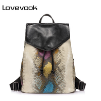 LOVEVOOK Brand Fashion Women Backpack High Quality Artificial Leather School Bags Female Serpentine Prints Drawstring Backpacks