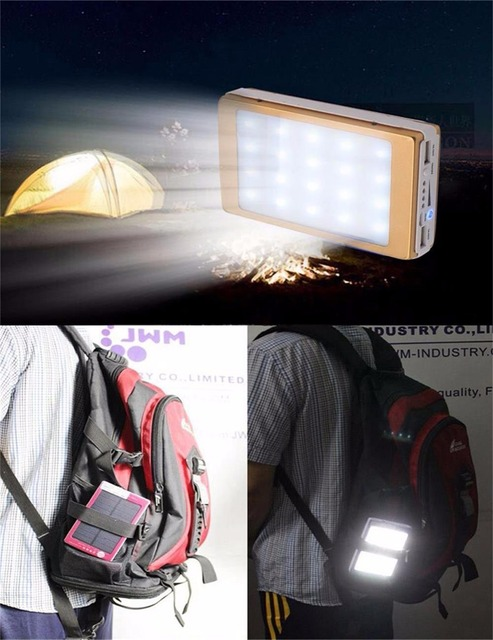 YFW Solar Charger Power Bank External Battery Pack 12000mAh 20 Pieces LED Lamps Poverbank for iPhone 6s 7 universal Mobile Phone