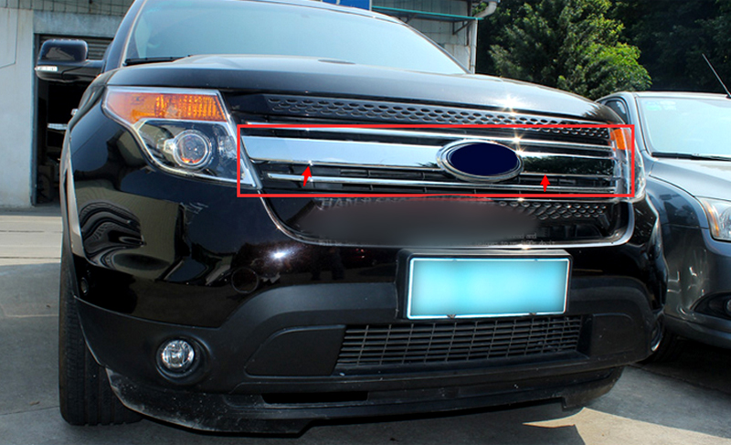 For Ford Explorer 2011 2012 2013 2014 Front Center Grill Grille Cover trim 1pcs Car Exterior Accessories car styling