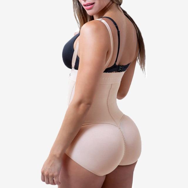Plus Size Hot Latex Sexy Women Body Shaper Post Liposuction Girdle Clip And Zip Bodysuit Vest Waist Shaper Reductoras Shapewear 2