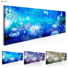 Lotus Flowers And Moon Prints Wall Art Aquatic Plants Poster Bright  Abstract Canvas Painting For Living
