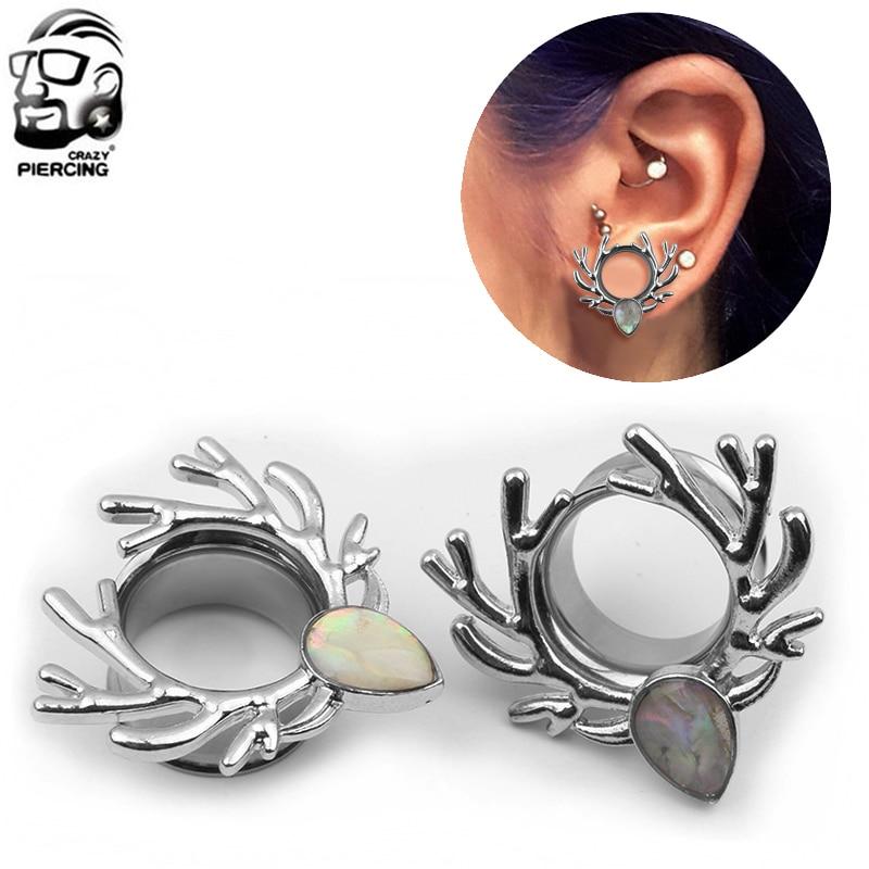 1 Pair Tunnels Earrings Shell Stainless Steel Ear Plugs Screw Fit Gauges