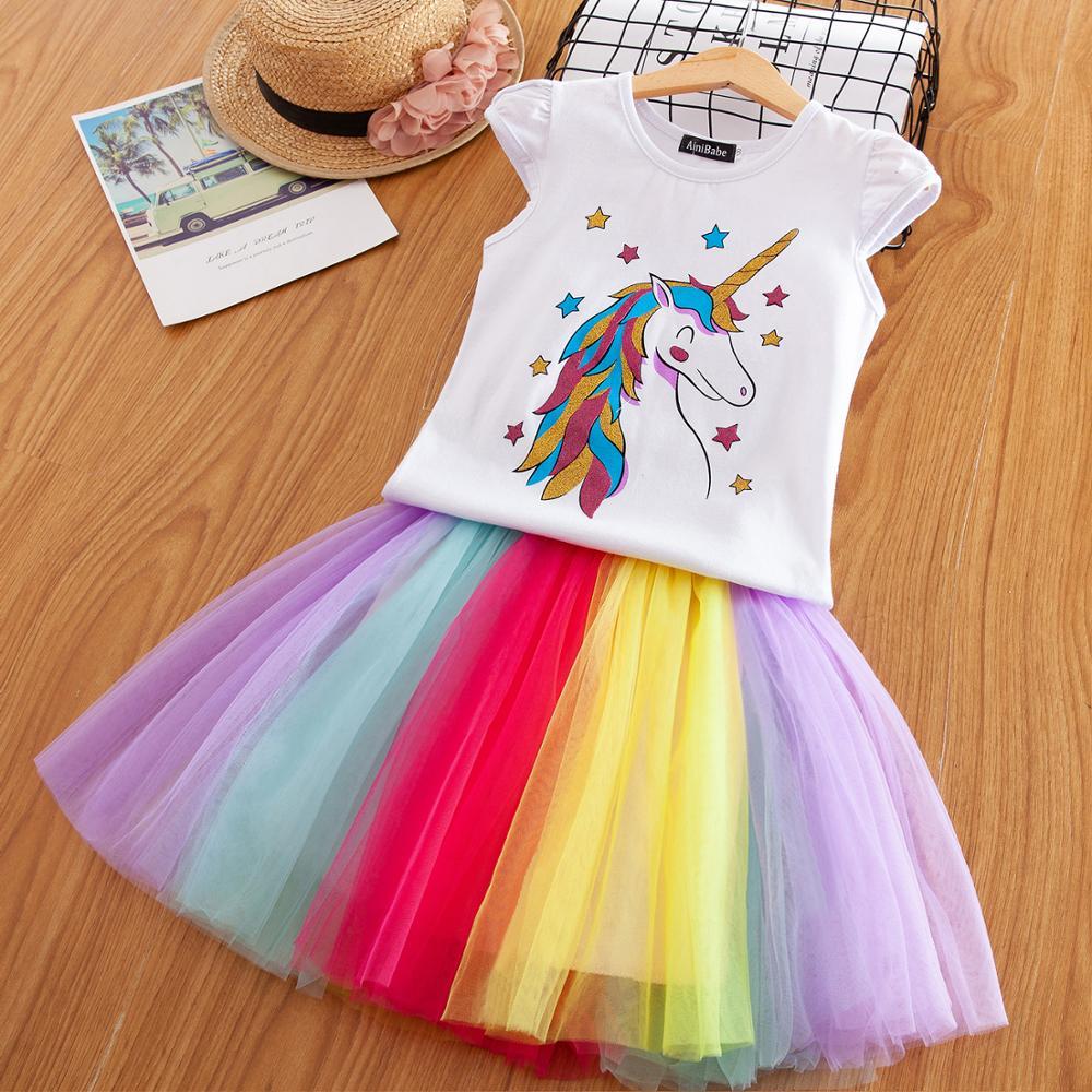 3-8 años de lujo diseño de estrella Unicornio vestido para niñas princesa Unicornio vestidos de fiesta verano niños vestidos para niña de traje