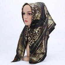 silk square scarf 2019 luxury brand women Headscarf jacquard headscarf fashion squaresglitter femme shawls islamic mujer 90*90