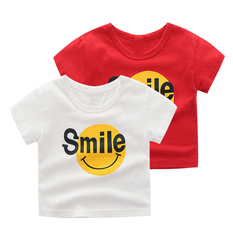 Summer 2-7T Short Sleeve Girls Tops Smiley Face Cute Boys Tshirt Breathable Cotton Roupa Menina O-Neck Casual Soft Kids Clothes