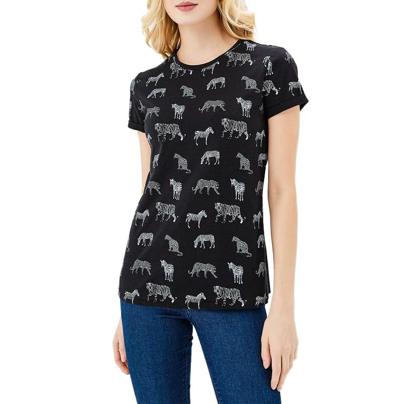 T-Shirts MODIS M181W00542 woman t shirt cotton for female TmallFS модные мужские o образным вырезом кабины print pullover t shirts