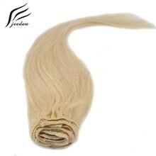 Jeedou синтетический клип в наращивание волос Средний Длина прямые 22 дюймов 55 см 8 шт. 160 г реального натуральных волос Светлые 12 видов цветов шиньоны