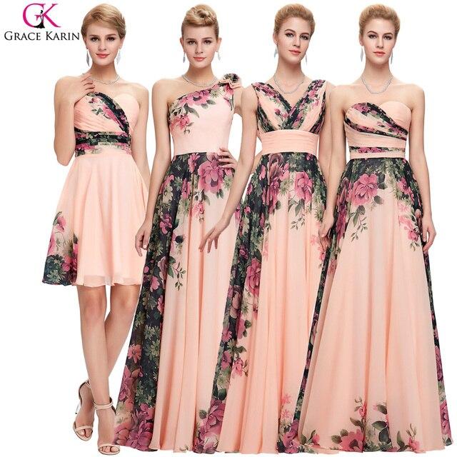 35c63bf7709e Grace karin abiti da sera 4 style stampa floreale chiffon elegante abiti da  cerimonia formale per ...