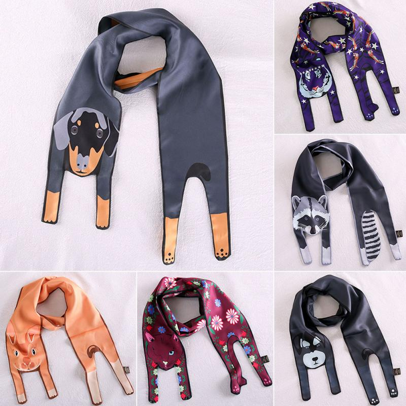 Unique Design 3D Cute Animal Scarf Collocation Bag Silk Scarf 120CMx10CM Fashion Tiger Cat Dog Parent-child Thin Silk Scarves