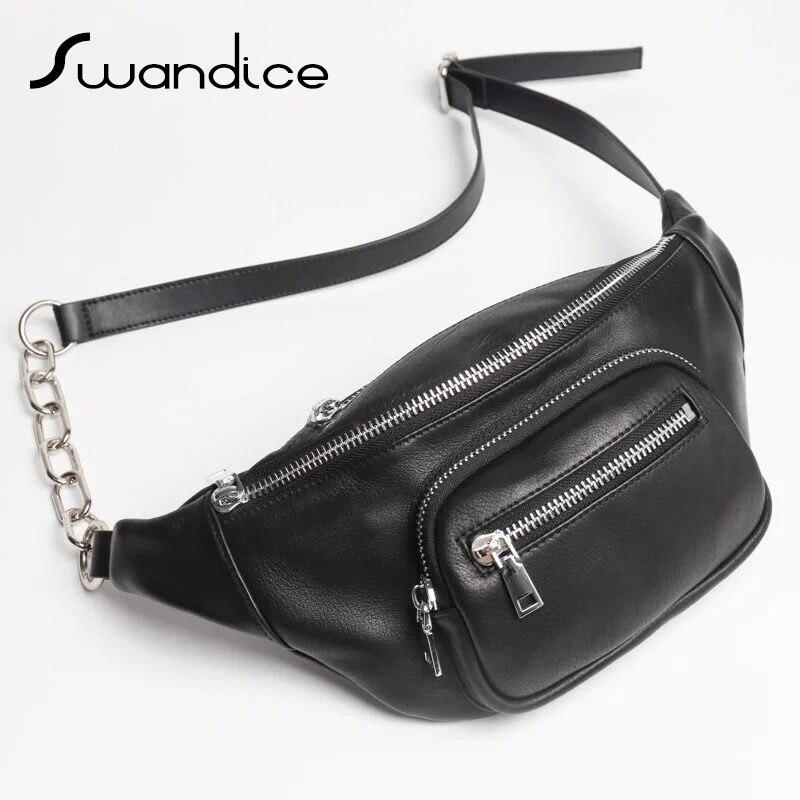 100 Real Genuine Cow Leather Large Fanny Packs Chest Waist Bum Belt Bags Crossbody Shoulder Handbags