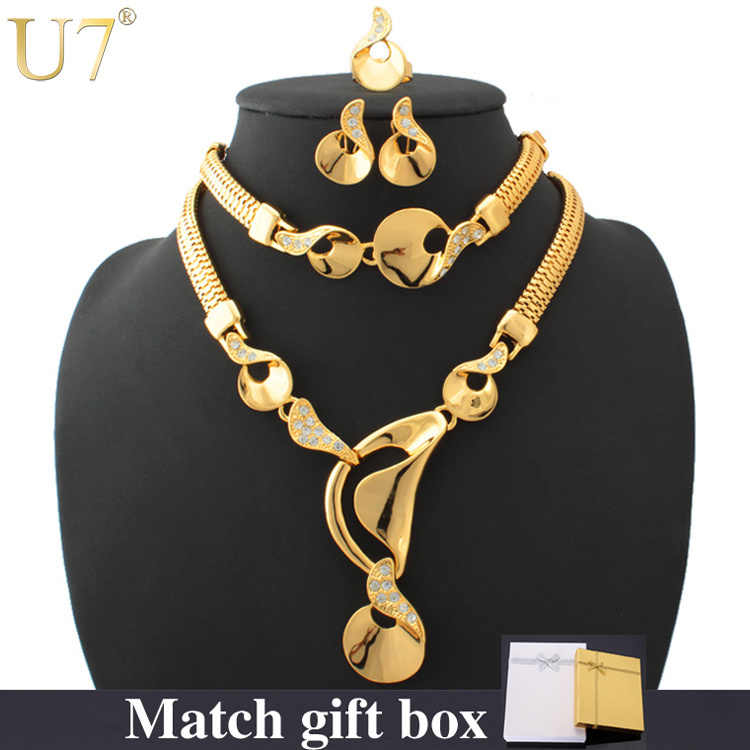 U7 Gold Color Bridal Jewelry Sets For Women Trendy Rhinestone Necklace Bracelet Earrings Ring Africa Jewelry Set S442