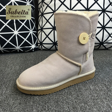 Kids Plus Size EUR 23-44 High Quality Not UG Australia Brand Women Men Genuine Leather Winter Warm Snow Boots Button Girls Shoen