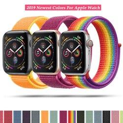 Correa de nailon de lazo deportivo para Apple Watch 40mm 44mm 38 42mm pulsera correa de nailon tejida muñeca bandas para iWatch Series 4/3/2/1