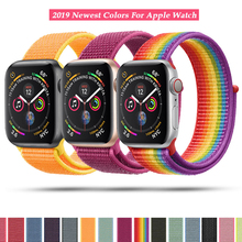лучшая цена Sport Loop Nylon Band for Apple Watch 40mm 44mm 38 42mm Bracelet Belt Strap Nylon Woven Wrist bands for iWatch Series 4/3/2/1