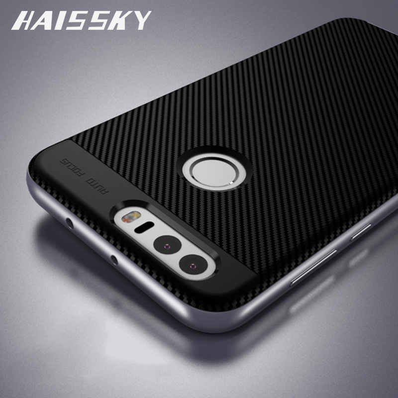Huawei honor 8 case cubierta original haissky marco de fibra de carbono de silic