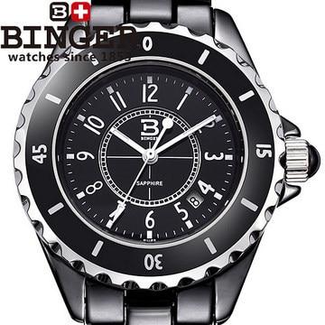 100% Original Hot Luxury Women Watch Black Ceramic Crystal Logo Quartz Wristwatch Lady Famous Fashion Brand Binger Watches