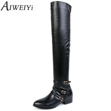 AIWEIYi Fashion Women Timber Boots Genuine Leather Work Martin Boots Ladies Winter Casual Ankle Platform Boots Flat Zapatos